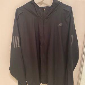 Black Adidas Running zip up lightweight windbreaker jacket